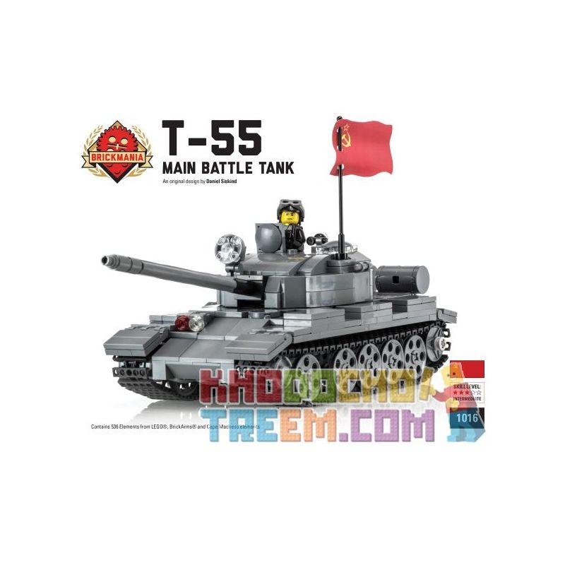 BRICKMANIA 1016 Xếp hình kiểu Lego MILITARY ARMY T-55 Russian Main Battle Tank Xe Tăng Chiến đấu Chủ Lực T-55 Của Nga 536 khối
