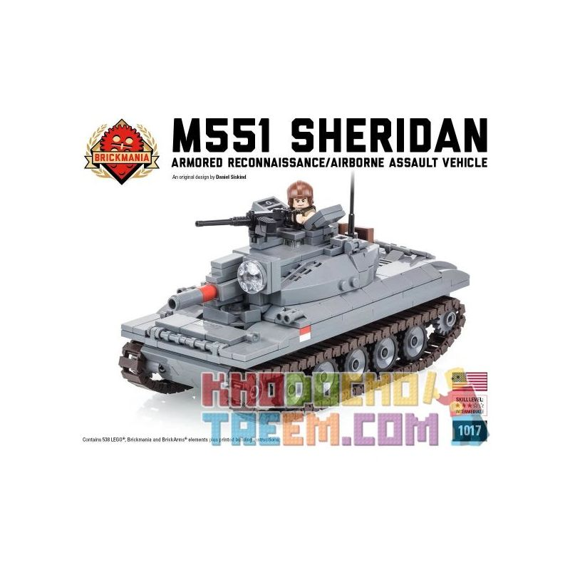 BRICKMANIA 1017 Xếp hình kiểu Lego MILITARY ARMY M551 Sheridan M551 Sherden Tank Xe Tăng M551 Sheridan 538 khối