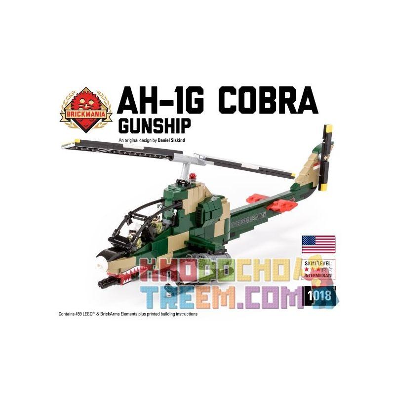 BRICKMANIA 1018 Xếp hình kiểu Lego MILITARY ARMY AH-1G Cobra Gunship AH-1 Cobra Armed Helicopter Máy Bay Trực Thăng Vũ Trang Cobra AH-1 459 khối