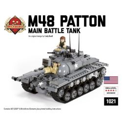 BRICKMANIA 1021 Xếp hình kiểu Lego MILITARY ARMY M48 Patton Main Battle Tank M48 Barton Main Battle Tank Xe Tăng Chiến đấu Chủ Lực M48 Patton 927 khối