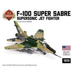 BRICKMANIA 1019 Xếp hình kiểu Lego MILITARY ARMY F-100 Super Sabre F-100 Super-parallel Knife Fighter Máy Bay Chiến đấu Siêu Thanh Kiếm F-100 1127 khối