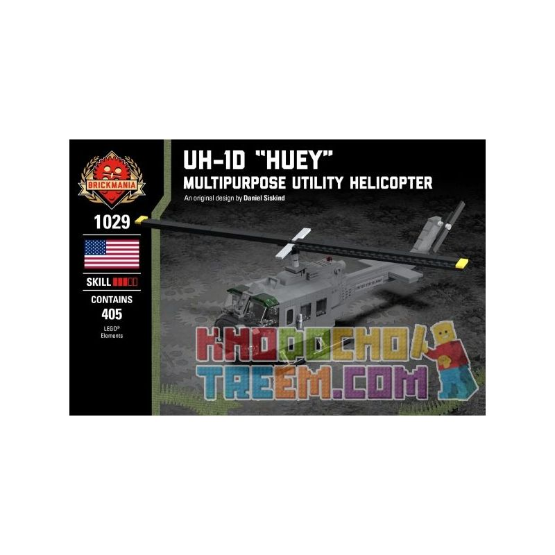 "BRICKMANIA 1029 Xếp hình kiểu Lego MILITARY ARMY UH-1D ""Huey"" - Multipurpose Utility Helicopter UH-1D Houy - Multi-purpose Helicopter Máy Bay Trực Thăng đa Năng UH-1D Huey 405 khối"