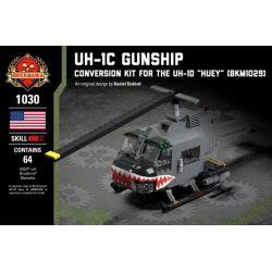 """BRICKMANIA 1030 Xếp hình kiểu Lego MILITARY ARMY UH-1C Gunship - Conversion Kit For The UH-1D """"Huey"""" (BKM1029) UH-1C Armed Helicopter - UH-1D (bkm1029) Modified Package Gói Sửa đổi UH-1C Gunship-UH-1D"""