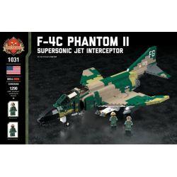 BRICKMANIA 1031 Xếp hình kiểu Lego MILITARY ARMY F-4C Phantom II - Supersonic Jet Interceptor F-4 Ghost II Fighter - Supersonic Interception Machine Máy Bay Chiến đấu-đánh Chặn Siêu Thanh F-4 Phantom