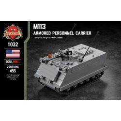 BRICKMANIA 1032 Xếp hình kiểu Lego MILITARY ARMY M113 - Armored Personnel Carrier M113 Armored Shipper Tàu Sân Bay Bọc Thép M113 455 khối
