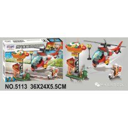 Winner 5113 Xếp hình kiểu Lego FIRE RESCURE Fire Fighters Pioneer Multi-function Fire Helicopter Máy Bay Trực Thăng Chữa Cháy đa Chức Năng 267 khối