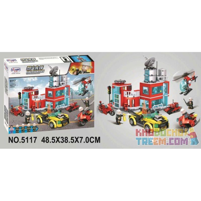 Winner 5117 Xếp hình kiểu Lego FIRE RESCURE Fire Fighters Pioneer Multi-function Fire Station Trạm Cứu Hỏa đa Chức Năng 584 khối