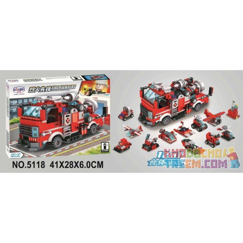 Winner 5118 Xếp hình kiểu Lego FIRE RESCURE Fire Fighters Pioneer 12 Combination Multi-function Tunnel Fire Truck 12 Tổ Hợp Xe Cứu Hỏa đường Hầm đa Chức Năng 336 khối