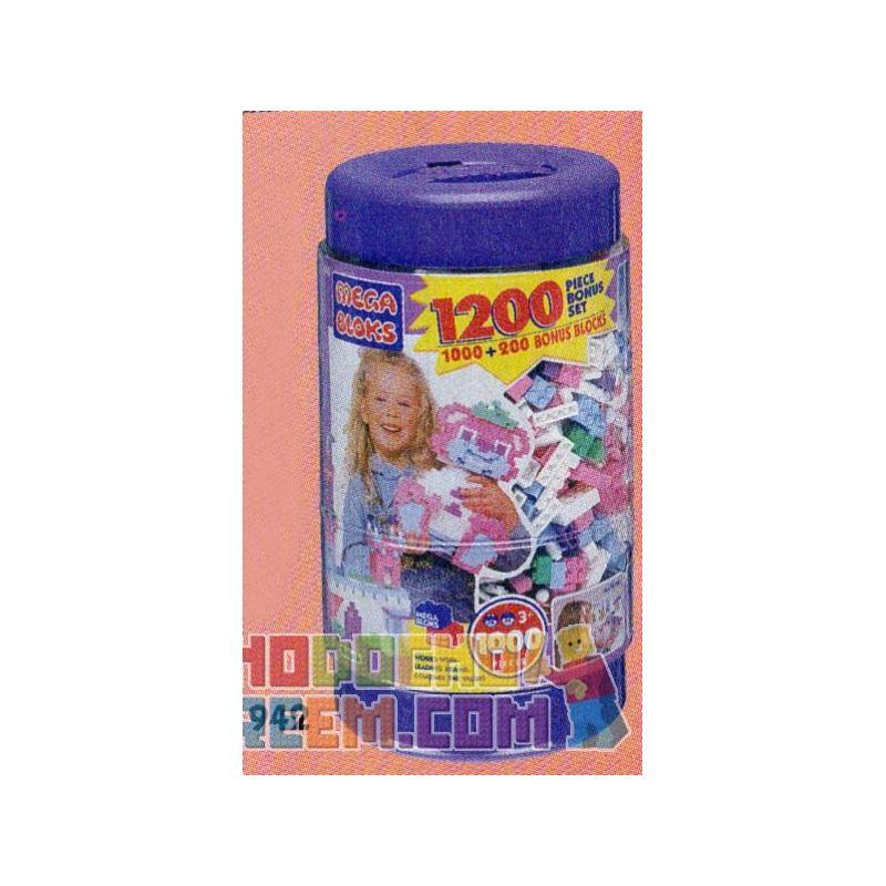MEGA BLOKS 942 Xếp hình kiểu Lego 1200 Pieces Pastel Colors Bucket 1200 Pieces Of Color Bucket 1200 Thùng Màu 1200 khối