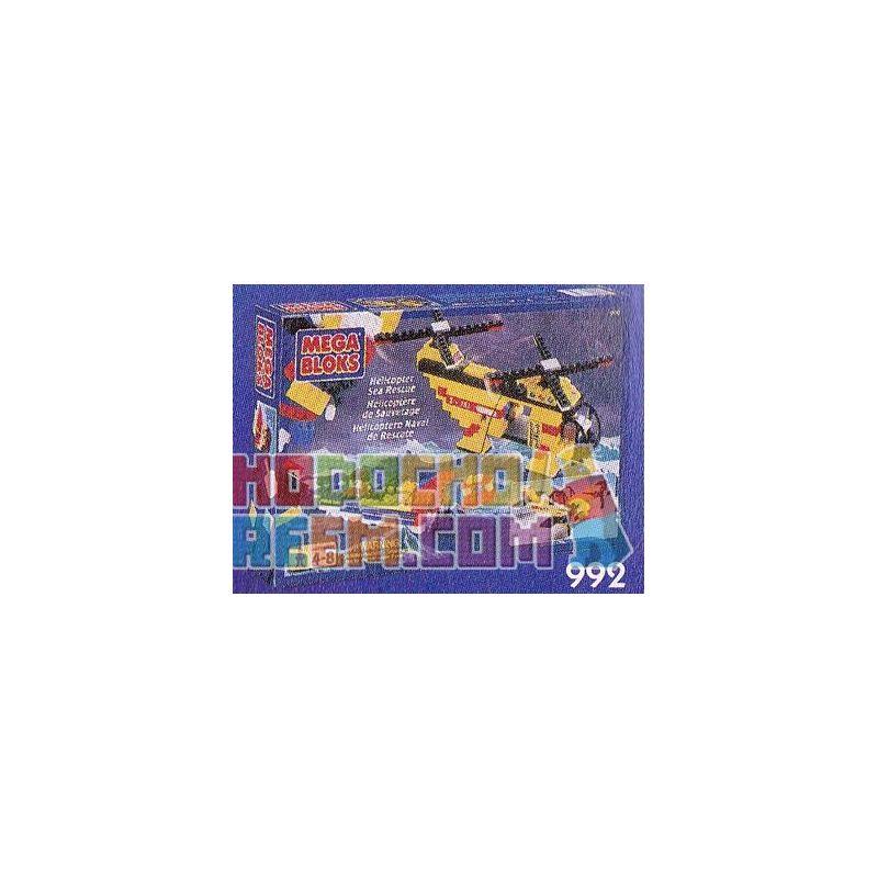 MEGA BLOKS 992 Xếp hình kiểu Lego CITY Helicopter Sea Rescue Ocean Rescue Helicopter Trực Thăng Cứu Hộ Hàng Hải 250 khối