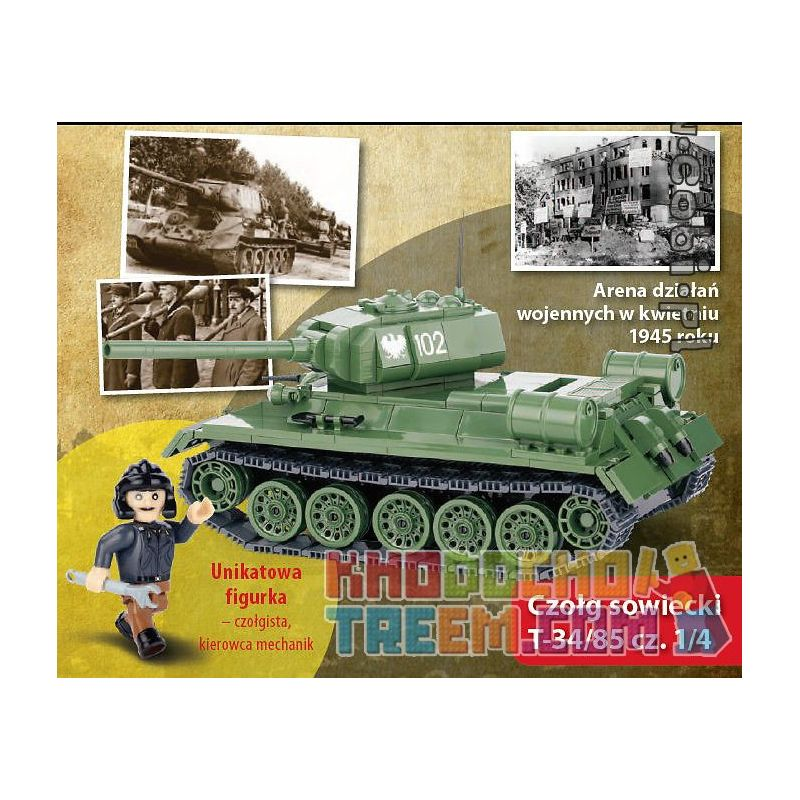 COBI WD-5551 5551 WD5551 WD-5552 5552 WD5552 WD-5553 5553 WD5553 WD-5554 5554 WD5554 Xếp hình kiểu Lego MILITARY ARMY T-34 85 Battle Of Berlin NO. 2 3 4 5 T-34 85 Trận Berlin Số 2 3 4 5 gồm 4 hộp nhỏ