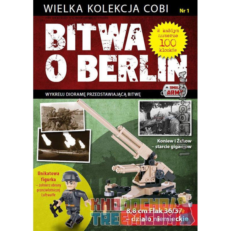COBI WD-5550 5550 WD5550 Xếp hình kiểu Lego GEAR Castle Logo Collectable Coin Battle Of Berlin No. 1 FLAK 36 37 88 Mm Trận Berlin Số 1 Pháo 36 37 88 Mm 100 khối