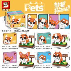 SHENG YUAN SY 7722A 7722B 7722C 7722D Xếp hình kiểu Lego Pets Cute Pet Pet Dog 4 Chó Cưng 4 Loại gồm 4 hộp nhỏ 572 khối