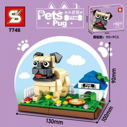 SHENG YUAN SY 7745 7746 7747 7748 Xếp hình kiểu Lego Pets Boston Terrier、Pug、Parrosonsel Terrier、Havana Dog Cute Pet Pet Dog 4 Small Persian, Pakistan, Little Rosen, Xiaohava Chó Cưng 4 Loại Little Pe