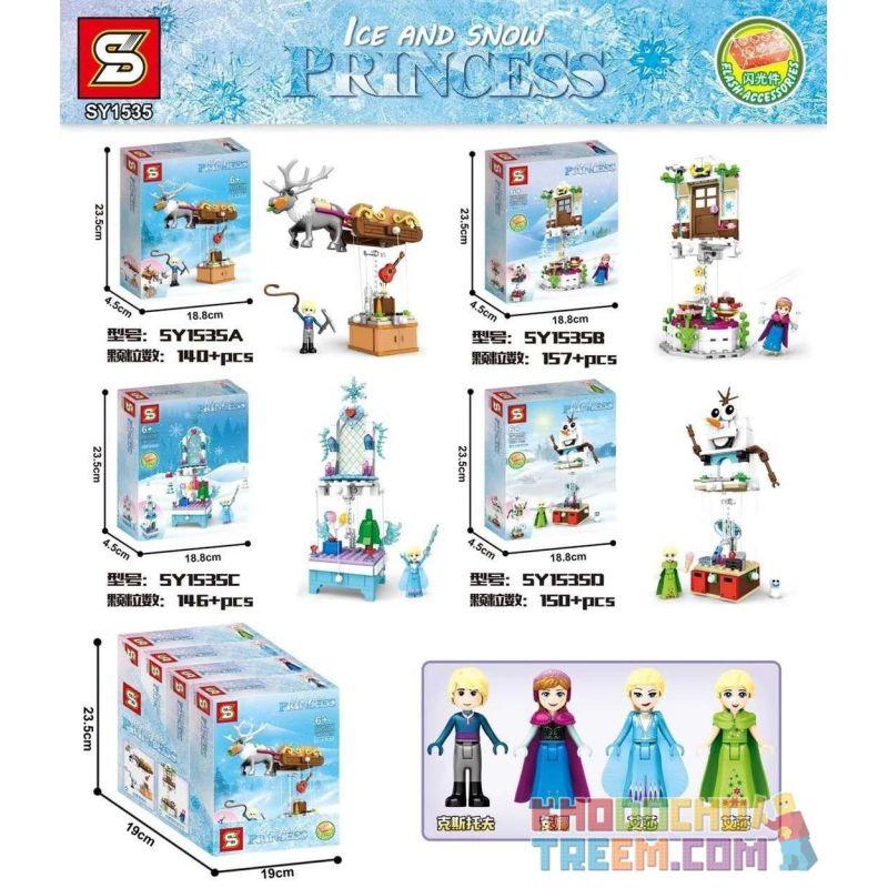 SHENG YUAN SY SY1535A 1535A SY1535B 1535B SY1535C 1535C SY1535D 1535D Xếp hình kiểu Lego DISNEY PRINCESS Ice And Snow Princess Suspend 4 4 Loại Hệ Thống Treo gồm 4 hộp nhỏ 621 khối