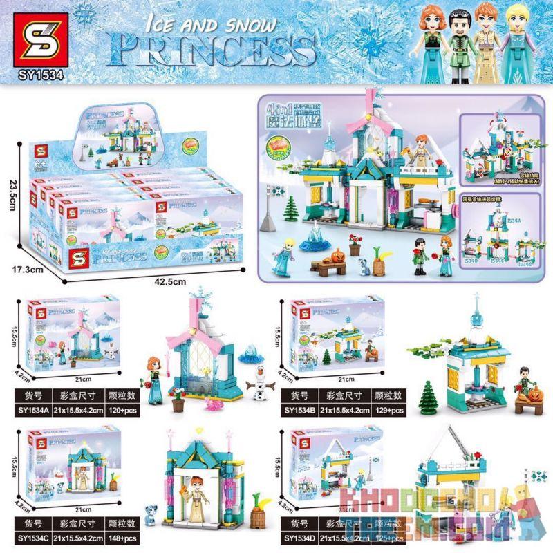 SHENG YUAN SY SY1534A 1534A SY1534B 1534B SY1534C 1534C SY1534D 1534D Xếp hình kiểu Lego DISNEY PRINCESS Ice And Snow Princess 4 4 Mô Hình gồm 4 hộp nhỏ 522 khối