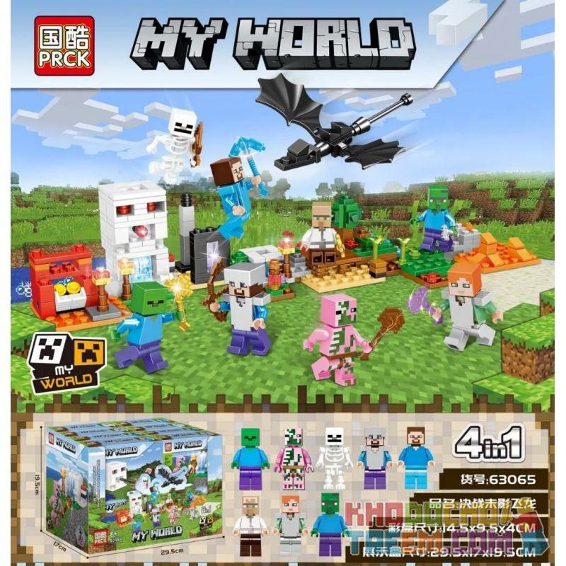 PRCK 63065 Xếp hình kiểu Lego MINECRAFT Heroes Gathering My World Decisive Battle Last Photo Flight 8 Trận Chiến 8 Ender Wyvern