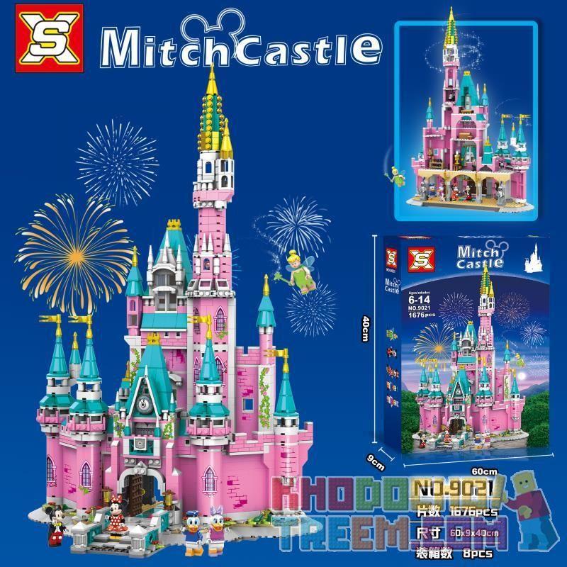 SX 9021 Xếp hình kiểu Lego CASTLE MitchCastle Pink Castle Paradise Thiên đường Lâu đài Hồng 1676 khối