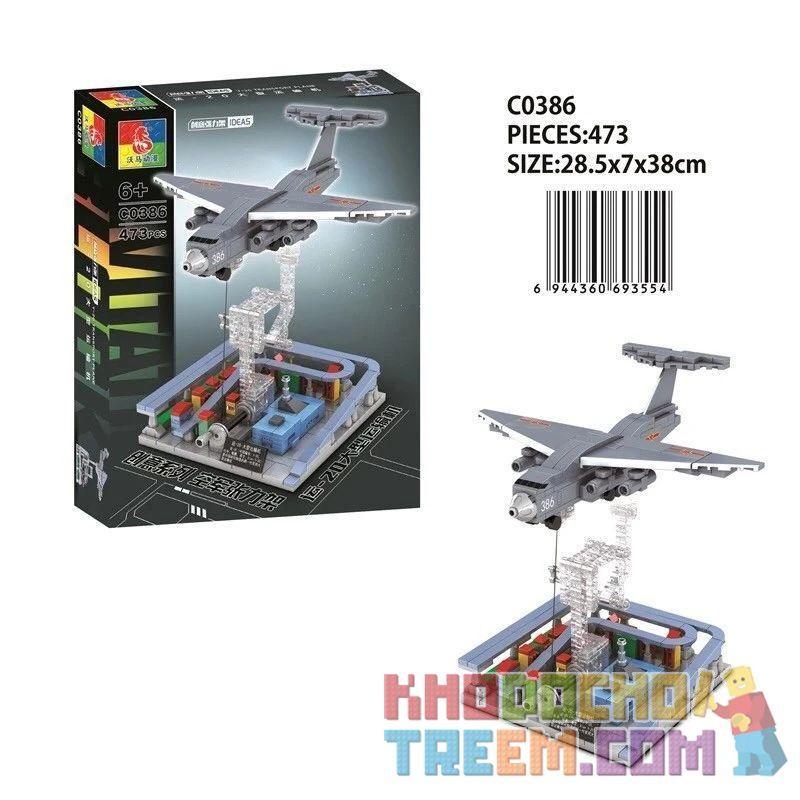 CHAOSHENG C0386 0386 WOMA C0386 0386 Xếp hình kiểu Lego MILITARY ARMY Air Force Tension Yun-20 Large Transporter Máy Bay Vận Tải Lớn Yun-20 473 khối