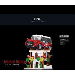 SHENZHEN RAEL ENTERTAINMENT 10011-1 10011-2 10011-3 10011-4 Xếp hình kiểu Lego SPEED CHAMPIONS Motel Street View Motel 4 Nhà Nghỉ 4 gồm 4 hộp nhỏ