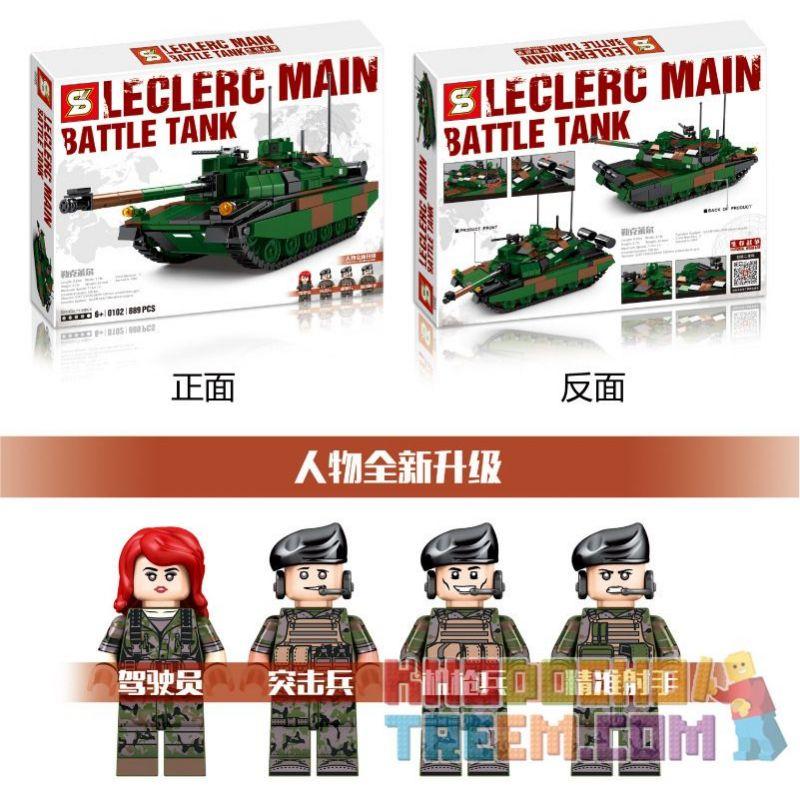 SHENG YUAN SY 0102 Xếp hình kiểu Lego MILITARY ARMY Survival Warfare Leclerc Main Battle Tank Survival War Leklaire Main Battle Tank Xe Tăng Chiến đấu Chủ Lực Leclerc 889 khối