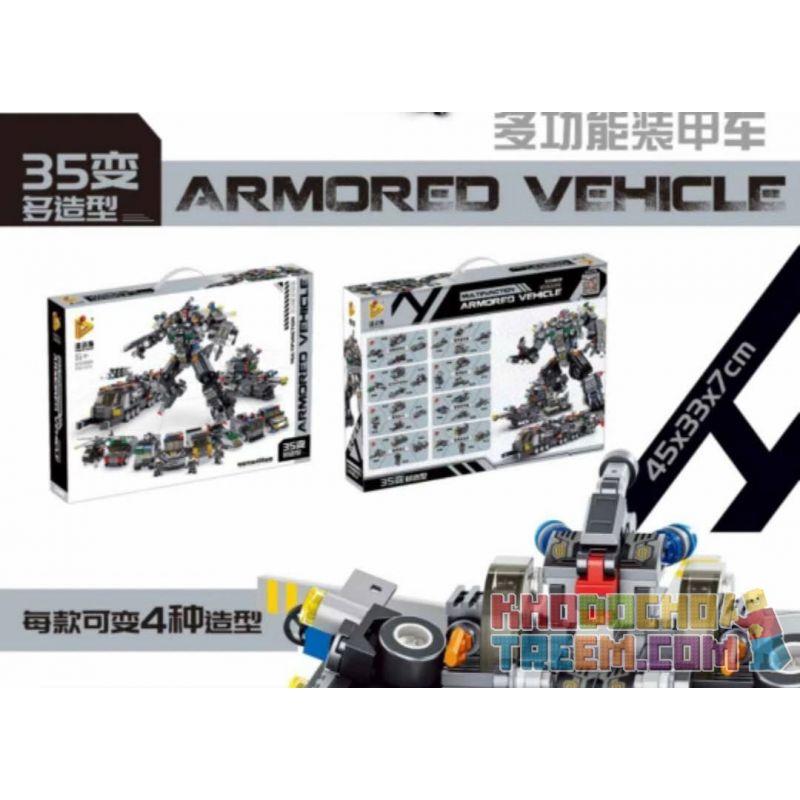 PanlosBrick 633060 Panlos Brick 633060 Xếp hình kiểu Lego Armored Vehicle Multi-function Armored Car 35 Varied Xe Bọc Thép đa Chức Năng 35 Trở Nên Phong Cách Hơn 832 khối