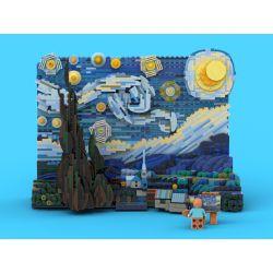 DK 3001 MOULDKING MOULD KING 3001 Xếp hình kiểu Lego CREATOR EXPERT Vincent Van Gogh The Starry Night Breakfast Moonburn Night Đêm đầy Sao 1830 khối