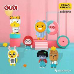GUDI 52001 52002 52003 52004 52005 52006 Xếp hình kiểu Lego KAKAO FRIENDS Cocoa Friends 6 6 Người Bạn Ca Cao gồm 6 hộp nhỏ 596 khối