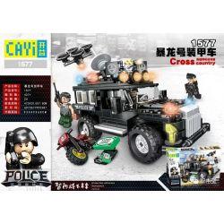 CAYI 1577 Xếp hình kiểu Lego SWAT SPECIAL FORCE AR New Police Story Tyrannosaurus Armored Car Xe Bọc Thép Tyrannosaurus 427 khối