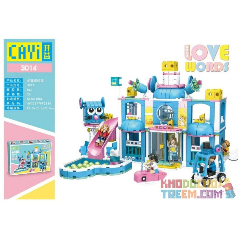 CAYI 3014 Xếp hình kiểu Lego FRIENDS Love Word City Heart Cheese Exploration House Phiêu Lưu Pho Mát 567 khối
