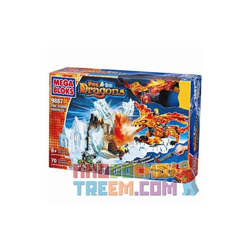 MEGA BLOKS 9887 Xếp hình kiểu Lego Fire Storm Fortress Flame Storm Fortress Pháo đài Flame Storm. 70 khối