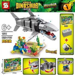 SHENG YUAN SY 1511 Xếp hình kiểu Lego JURASSIC WORLD Dinosaur World Giant Teeth Shark Shark Răng Khổng Lồ 625 khối