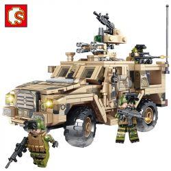 SEMBO 105622 Xếp hình kiểu Lego IRON BLOOD HEAVY EQUIPMENT Iron Plate Army Lightning Protection Car Xe Tia Chớp Quân đội 469 khối