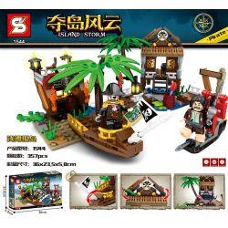 SHENG YUAN SY 1544 Xếp hình kiểu Lego PIRATES OF THE CARIBBEAN Island Storm Boilant Island Đảo Bãi Cạn 357 khối