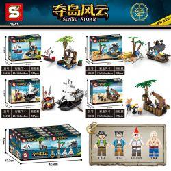 SHENG YUAN SY 1541A 1541B 1541C 1541D Xếp hình kiểu Lego PIRATES OF THE CARIBBEAN Island Storm Island Mini Pirate Ship Hair Pirates 4 Mini Pirate Ship Pirate Tavern 4 Loại gồm 4 hộp nhỏ 507 khối