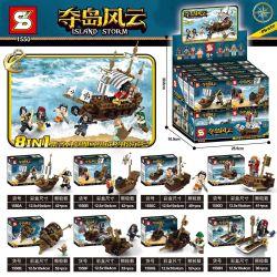 SHENG YUAN SY 1550 Xếp hình kiểu Lego PIRATES OF THE CARIBBEAN Island Storm Island Eight-in-one Tall Pirate Ship 8 Tàu Cướp Biển Yotal Tám Trong Một 8 Mô Hình 366 khối