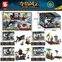 SHENG YUAN SY 1543A 1543B 1543C 1543D Xếp hình kiểu Lego PIRATES OF THE CARIBBEAN Island Storm Island Hyst To Hunting 4 Models 4 Loại Cá Mập Thối ở Biển Sâu gồm 4 hộp nhỏ 961 khối