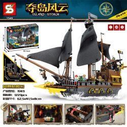 SHENG YUAN SY 1549 Xếp hình kiểu Lego PIRATES OF THE CARIBBEAN Island Storm Island Storm 骷 Hộp Sọ Bão 1223 khối