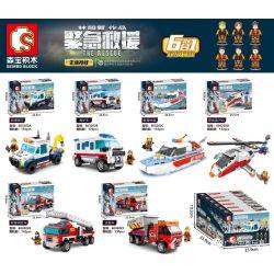 SEMBO 603202A 603202B 603202C 603202D 603202E 603202F Xếp hình kiểu Lego FIRE RESCURE The Rescue Emergency Rescue 6 Rescue Trailers, Ambulances, Rescue Speedboats, Rescue Helicopters, Rescue Fire Truc