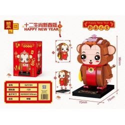 ZHEGAO QJ5104 5104 Xếp hình kiểu Lego SEASONAL Happy New Year Twelve Zodiac New Year Edition Monkey Con Khỉ 139 khối