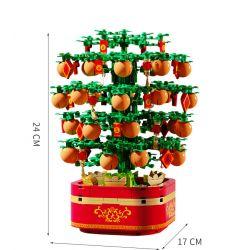 SEMBO 601145 Xếp hình kiểu Lego SEASONAL New Spring Rotating Music Box Lighting Music Kinecuff Cây Quất Nhạc Nhẹ 666 khối
