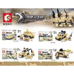 SEMBO 11201 11202 11203 11204 Xếp hình kiểu Lego FALCON COMMANDOS Desert Military Carrier 4 4 Xe Quân Sự Sa Mạc gồm 4 hộp nhỏ