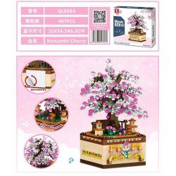 ZHEGAO QL0984 0984 Xếp hình kiểu Lego SEASONAL Music Box Romantic Cherry Rotating Music Box Romantic Sakura Sakura Lãng Mạn 487 khối