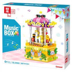 ZHEGAO QL0980 0980 Xếp hình kiểu Lego SEASONAL Music Box Carousel Rotating Music Box Rotating Trojan Băng Chuyền 607 khối