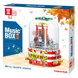 ZHEGAO QL0979 0979 Xếp hình kiểu Lego SEASONAL Music Box Telephone Booth Rotating Music Box Bốt điện Thoại 335 khối