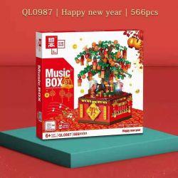 ZHEGAO QL0987 0987 Xếp hình kiểu Lego SEASONAL Music Box Happy New Year New Year Music Box Make A Fortune Tree Cây Tài Lộc 566 khối