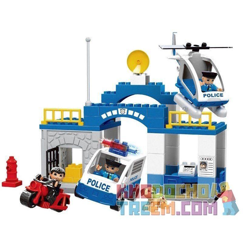 Hystoys Hongyuansheng Aoleduotoys HG-1266 GM-5011C (NOT Lego Duplo 5681 Police Station ) Xếp hình Trụ Sở Cảnh Sát Với Trực Thăng Cùng Ô Tô Cảnh Sát gồm 2 hộp nhỏ 60 khối