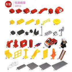 NOT LEGO Duplo 6168 Fire Station, Hystoys HongYuanSheng Aoleduotoys GM-5010C HG-1267 HG-1267B Xếp hình Trụ Sở Cứu Hỏa Với Xe Bán Tải Cứu Hỏa 69 khối