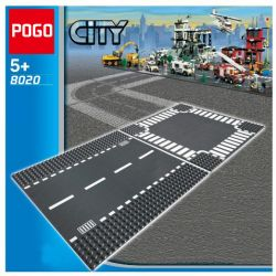 POGO 8020 Xếp hình kiểu Lego CITY Straight & T-Junction Road Panel Straight Track And Ding Jun Giao Lộ Thẳng & Chữ T 2 khối