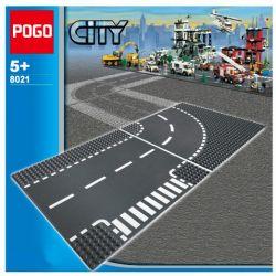 NOT Lego CITY 60237 Curves & Crossroad Road Board Corner And Crossroads , POGO 8021 Xếp hình Đường Cong & Ngã Tư 2 khối
